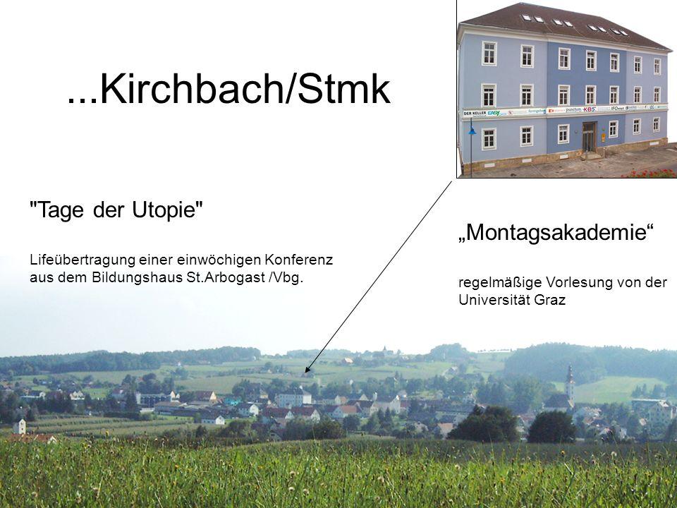 Resultate Tage der Utopie 2005: 700 Besucher in einer Woche bei einem virtuellen Event Montagsakademie 2004-2006: Kirchbach ist von allen Außenstellen am besten besucht, obwohl (weil?) das einzige Dorf unter Klein- und Mittelstädten