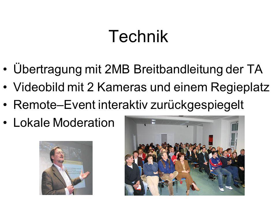 Technik Übertragung mit 2MB Breitbandleitung der TA Videobild mit 2 Kameras und einem Regieplatz Remote–Event interaktiv zurückgespiegelt Lokale Moderation