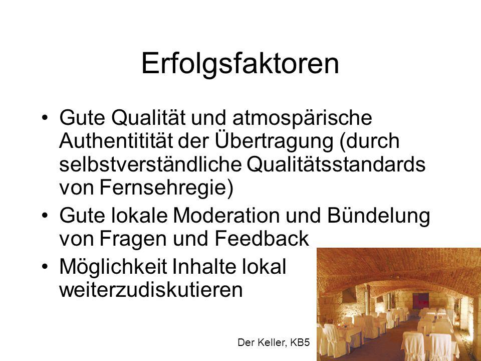 Erfolgsfaktoren Gute Qualität und atmospärische Authentitität der Übertragung (durch selbstverständliche Qualitätsstandards von Fernsehregie) Gute lok