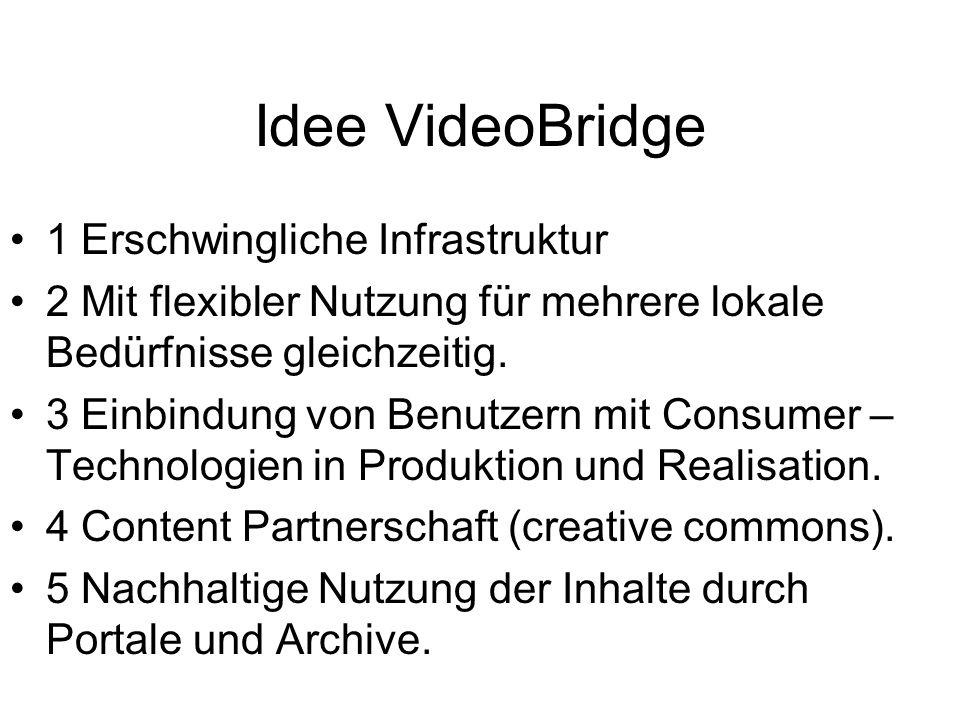 Idee VideoBridge 1 Erschwingliche Infrastruktur 2 Mit flexibler Nutzung für mehrere lokale Bedürfnisse gleichzeitig. 3 Einbindung von Benutzern mit Co