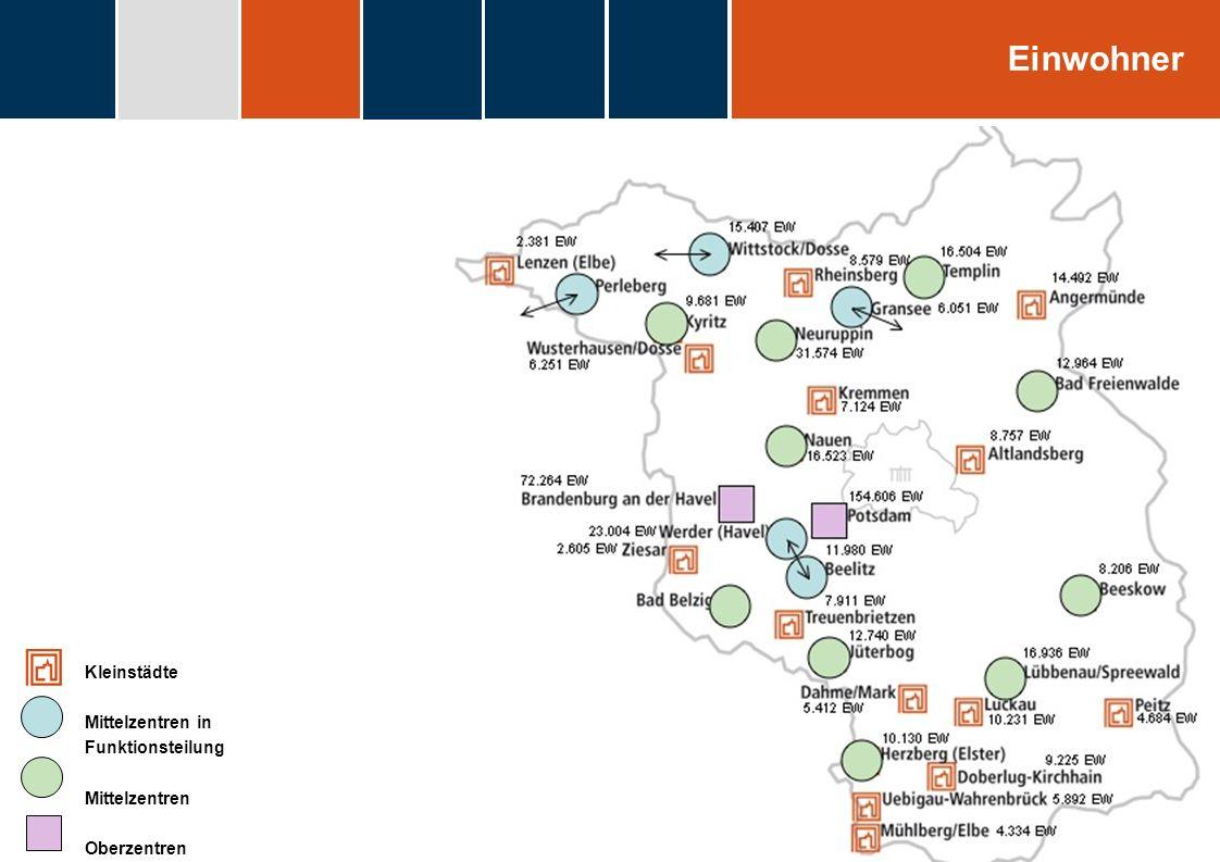 fdggfg Kleinstädte Mittelzentren in Funktionsteilung Mittelzentren Oberzentren Einwohner