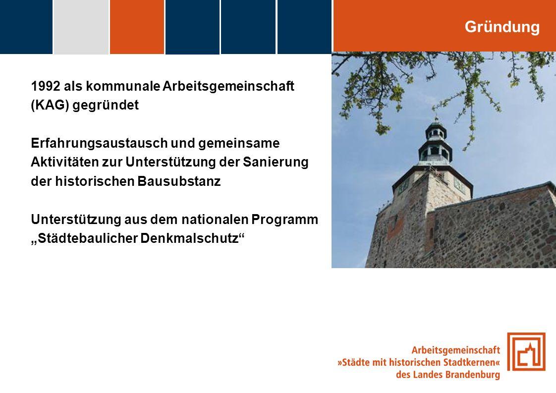 fdggfg Gründung 1992 als kommunale Arbeitsgemeinschaft (KAG) gegründet Erfahrungsaustausch und gemeinsame Aktivitäten zur Unterstützung der Sanierung
