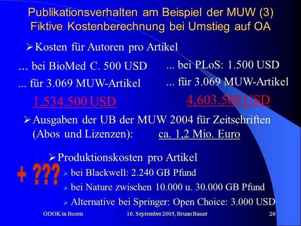 ODOK in Bozen 16. September 2005, Bruno Bauer26 Kosten für Autoren pro Artikel...