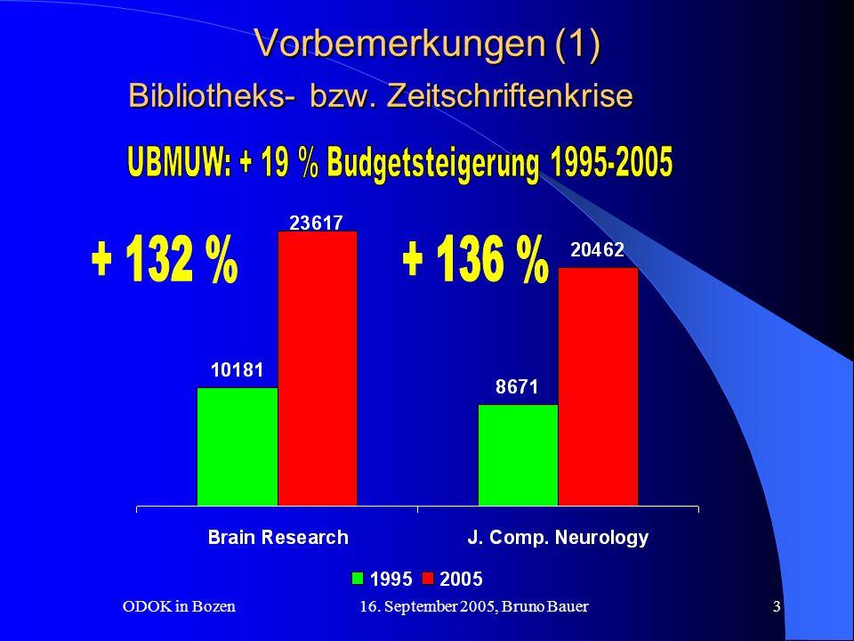 ODOK in Bozen 16. September 2005, Bruno Bauer3 Vorbemerkungen (1) Bibliotheks- bzw.
