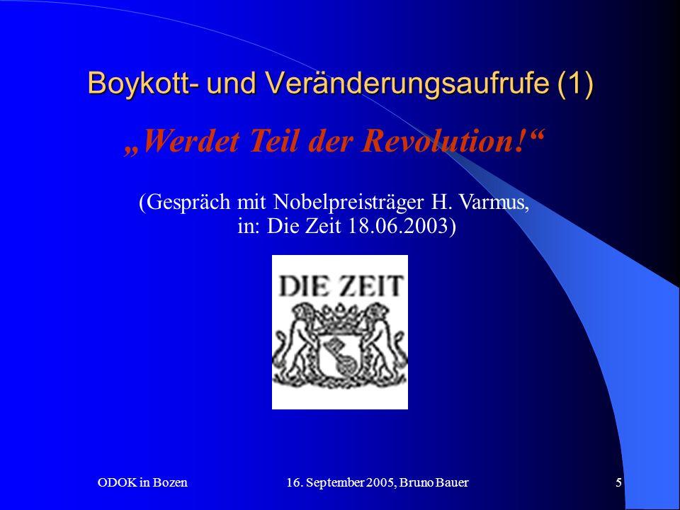 ODOK in Bozen 16.September 2005, Bruno Bauer26 Kosten für Autoren pro Artikel...