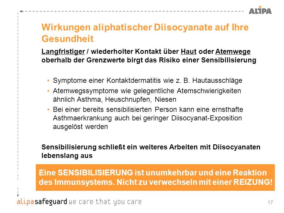 17 Wirkungen aliphatischer Diisocyanate auf Ihre Gesundheit Eine SENSIBILISIERUNG ist unumkehrbar und eine Reaktion des Immunsystems. Nicht zu verwech