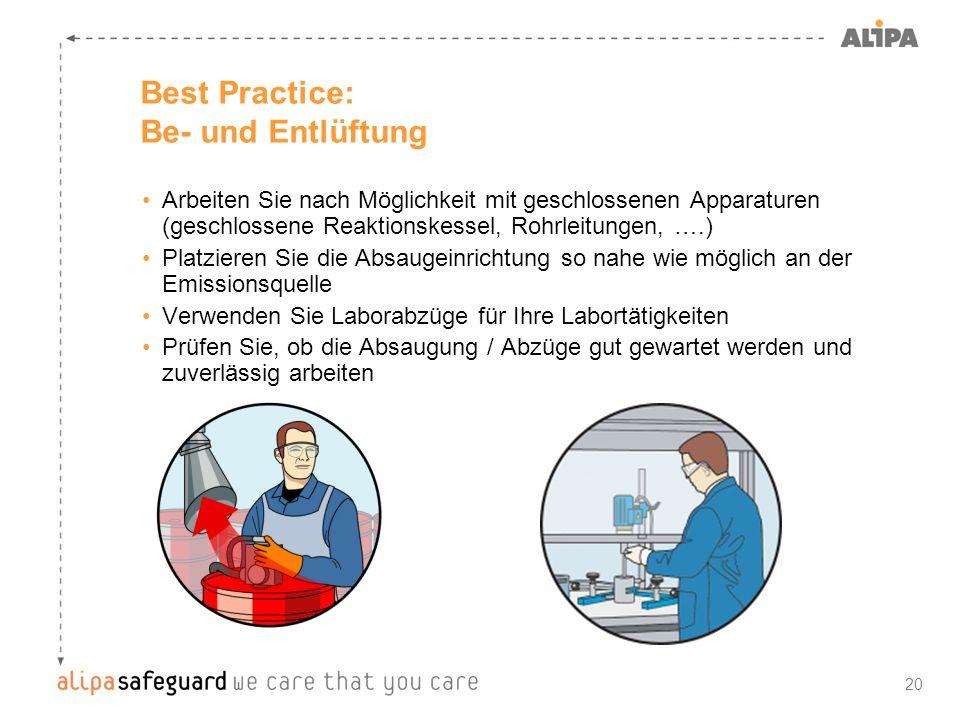 20 Best Practice: Be- und Entlüftung Arbeiten Sie nach Möglichkeit mit geschlossenen Apparaturen (geschlossene Reaktionskessel, Rohrleitungen, ….) Pla