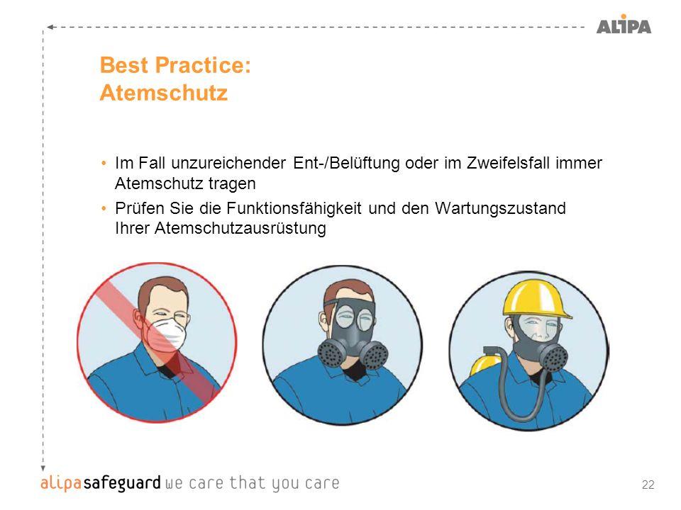 22 Best Practice: Atemschutz Im Fall unzureichender Ent-/Belüftung oder im Zweifelsfall immer Atemschutz tragen Prüfen Sie die Funktionsfähigkeit und