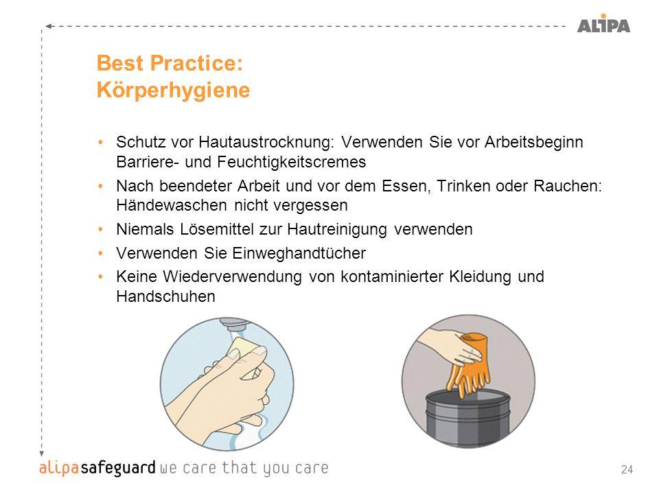 24 Best Practice: Körperhygiene Schutz vor Hautaustrocknung: Verwenden Sie vor Arbeitsbeginn Barriere- und Feuchtigkeitscremes Nach beendeter Arbeit u