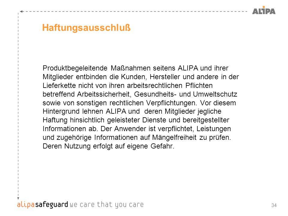 34 Haftungsausschluß Produktbegeleitende Maßnahmen seitens ALIPA und ihrer Mitglieder entbinden die Kunden, Hersteller und andere in der Lieferkette n