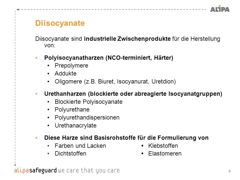 4 Diisocyanate sind industrielle Zwischenprodukte für die Herstellung von: Polyisocyanatharzen (NCO-terminiert, Härter) Prepolymere Addukte Oligomere