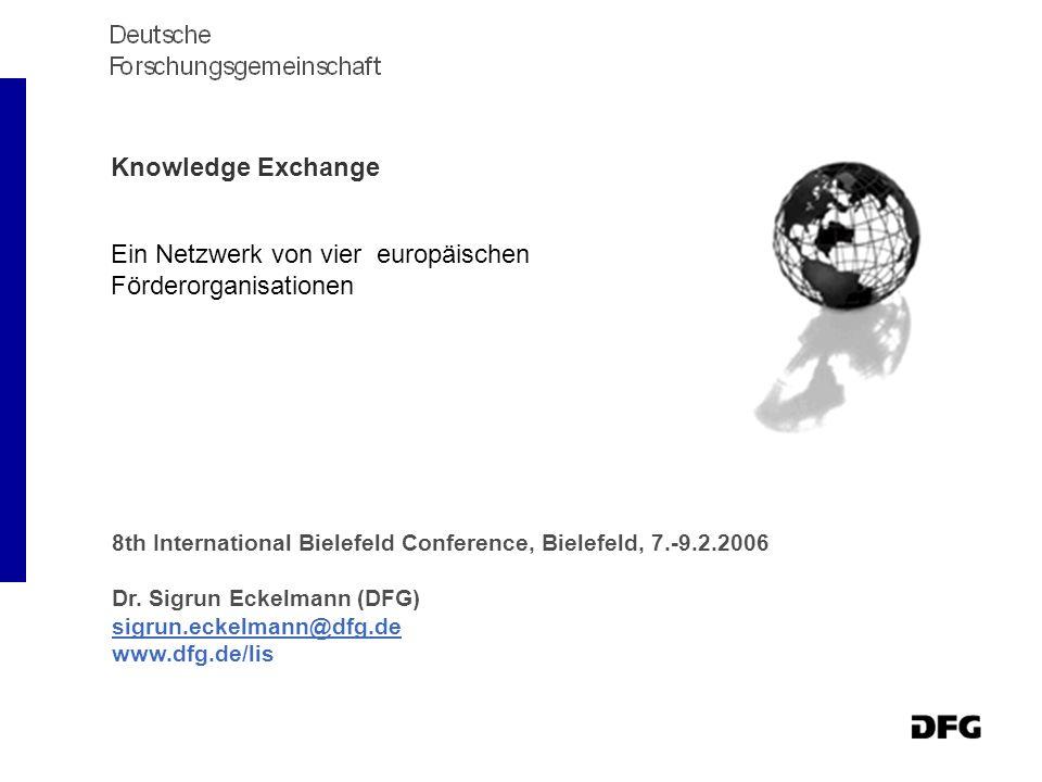 Knowledge Exchange Ein Netzwerk von vier europäischen Förderorganisationen 8th International Bielefeld Conference, Bielefeld, 7.-9.2.2006 Dr.
