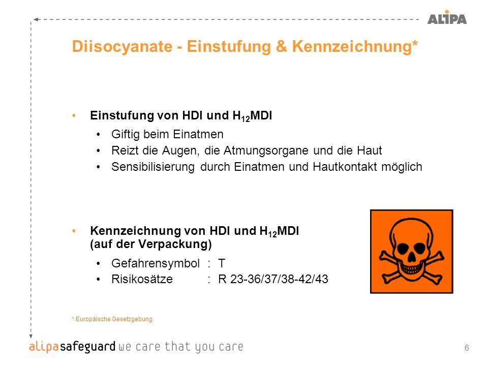 7 Diisocyanate - Einstufung & Kennzeichnung* Einstufung von IPDI Giftig beim Einatmen Reizt die Augen, die Atmungsorgane und die Haut Sensibilisierung durch Einatmen und Hautkontakt möglich Giftig für Wasserorganismen, kann in Gewässern längerfristig schädliche Wirkungen haben Kennzeichnung von IPDI (auf der Verpackung) Gefahrensymbol :T, N Risikosätze :R 23-36/37/38-42/43-51/53 * Europäische Gesetzgebung