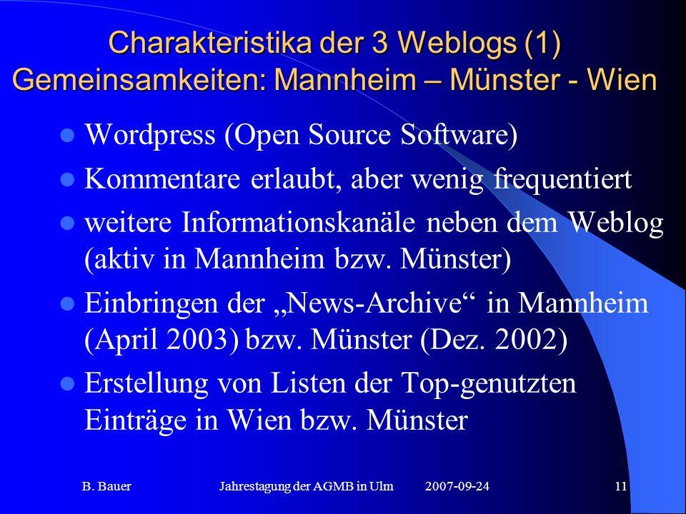 B. BauerJahrestagung der AGMB in Ulm2007-09-2411 Charakteristika der 3 Weblogs (1) Gemeinsamkeiten: Mannheim – Münster - Wien Wordpress (Open Source S