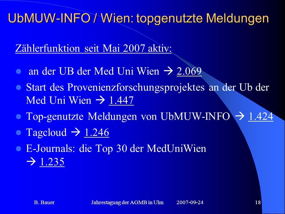 B. BauerJahrestagung der AGMB in Ulm2007-09-2418 UbMUW-INFO / Wien: topgenutzte Meldungen Zählerfunktion seit Mai 2007 aktiv: an der UB der Med Uni Wi