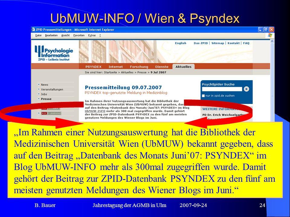 B. BauerJahrestagung der AGMB in Ulm2007-09-2424 UbMUW-INFO / Wien & Psyndex Im Rahmen einer Nutzungsauswertung hat die Bibliothek der Medizinischen U