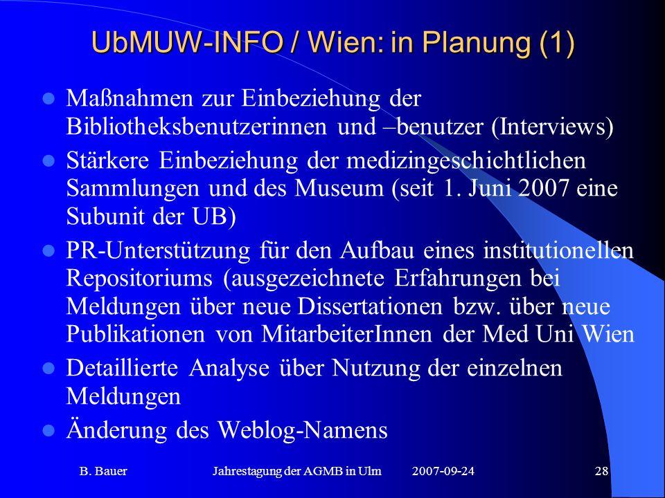 B. BauerJahrestagung der AGMB in Ulm2007-09-2428 UbMUW-INFO / Wien: in Planung (1) Maßnahmen zur Einbeziehung der Bibliotheksbenutzerinnen und –benutz