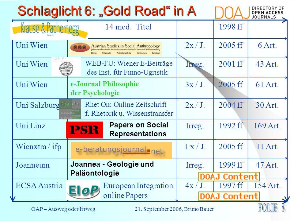 OAP – Ausweg oder Irrweg 21. September 2006, Bruno Bauer Schlaglicht 6: Gold Road in A 14 med. Titel1998 ff Uni Wien2x / J.2005 ff6 Art. Uni Wien WEB-