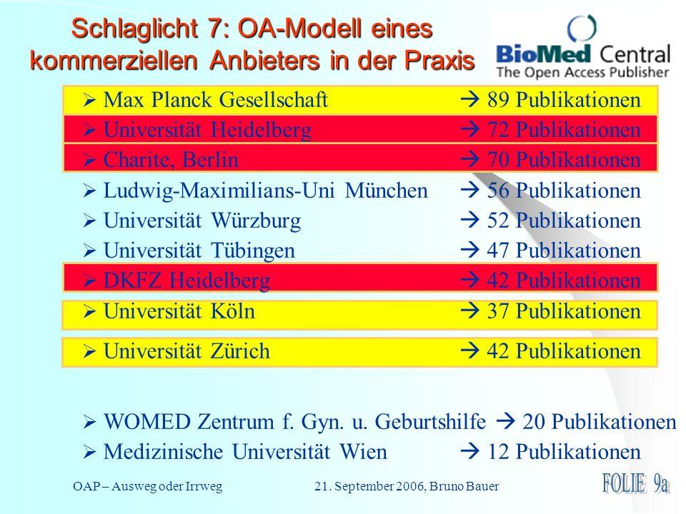 OAP – Ausweg oder Irrweg 21. September 2006, Bruno Bauer Schlaglicht 7: OA-Modell eines kommerziellen Anbieters in der Praxis Max Planck Gesellschaft