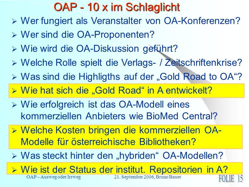 OAP – Ausweg oder Irrweg 21. September 2006, Bruno Bauer OAP - 10 x im Schlaglicht Wer fungiert als Veranstalter von OA-Konferenzen? Wer sind die OA-P