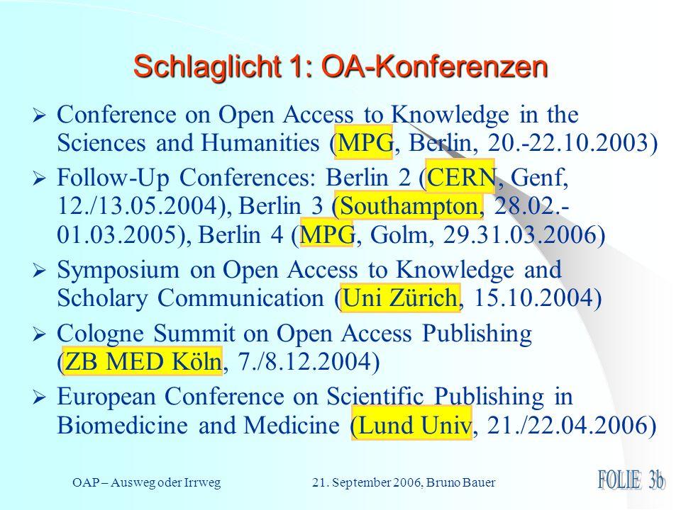 OAP – Ausweg oder Irrweg 21. September 2006, Bruno Bauer Schlaglicht 1: OA-Konferenzen Conference on Open Access to Knowledge in the Sciences and Huma