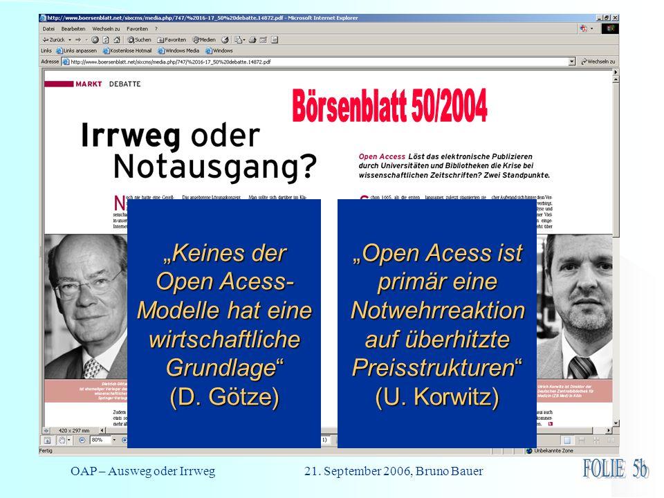 OAP – Ausweg oder Irrweg 21. September 2006, Bruno Bauer Schlaglicht 3: Vehemenz der Auseinandersetzung Keines der Open Acess- Modelle hat eine wirtsc