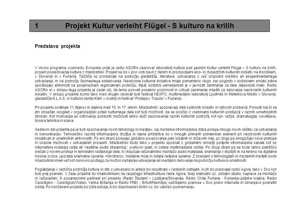 V okviru programa »connect« Evropske unije je radio AGORA zasnoval laboratorij kulture pod geslom Kultur verleiht Flügel – S kulturo na krilih, projekt posredovanja kulture z mladostniki.