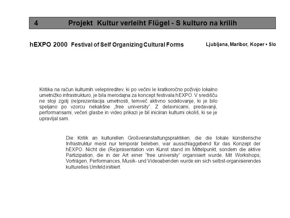 4 Projekt Kultur verleiht Flügel - S kulturo na krilih hEXPO 2000 Festival of Self Organizing Cultural Forms Die Kritik an kulturellen Großveranstaltungspraktiken, die die lokale künstlerische Infrastruktur meist nur temporär beleben, war ausschlaggebend für das Konzept der hEXPO.