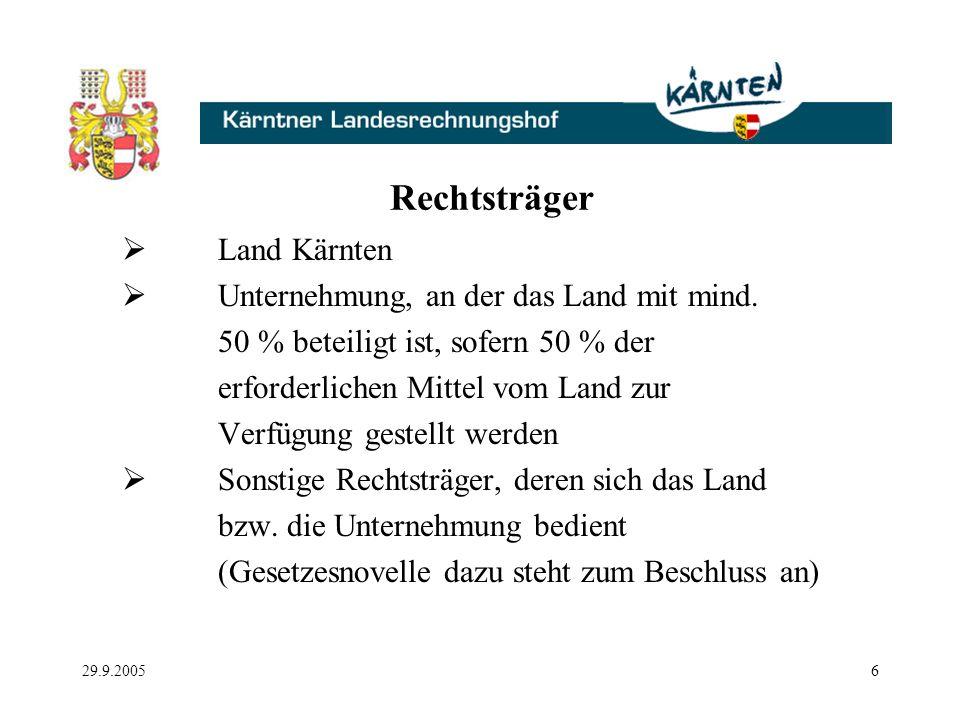 29.9.20056 Rechtsträger Land Kärnten Unternehmung, an der das Land mit mind.