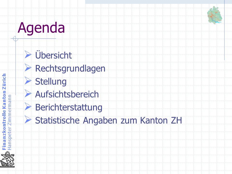 Finanzkontrolle Kanton Zürich Hanspeter Zimmermann Agenda Übersicht Rechtsgrundlagen Stellung Aufsichtsbereich Berichterstattung Statistische Angaben