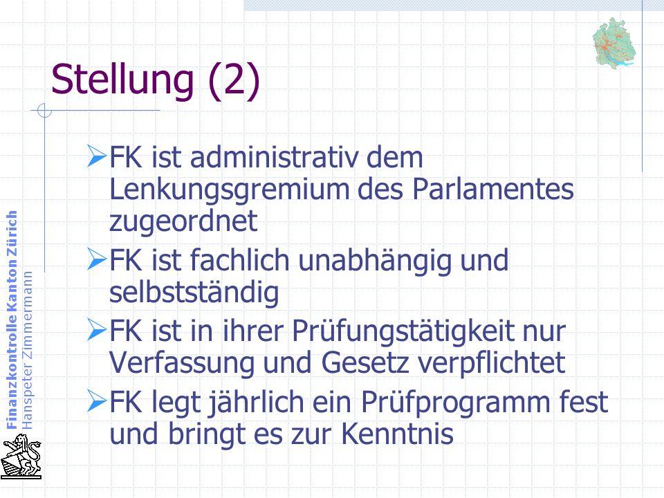 Finanzkontrolle Kanton Zürich Hanspeter Zimmermann Aufsichtsbereich (1) Der Finanzaufsicht durch die FK unterliegen: das Rechnungswesen des Parlamentes die kantonale Verwaltung die Verwaltung der Rechtspflege die öffentlichrechtlichen Anstalten des Kantons