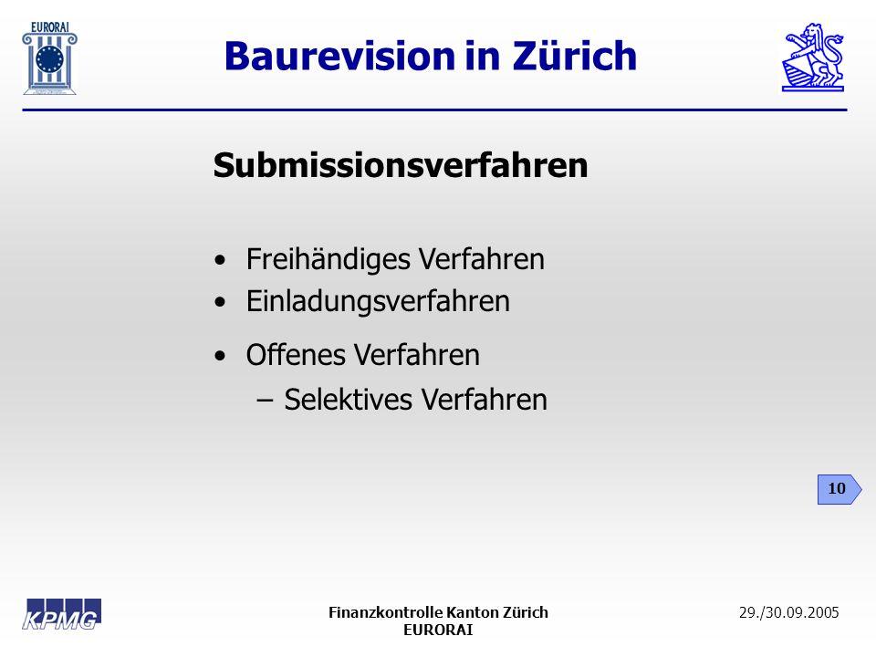 Baurevision in Zürich 10 29./30.09.2005Finanzkontrolle Kanton Zürich EURORAI Submissionsverfahren Freihändiges Verfahren Einladungsverfahren Offenes V