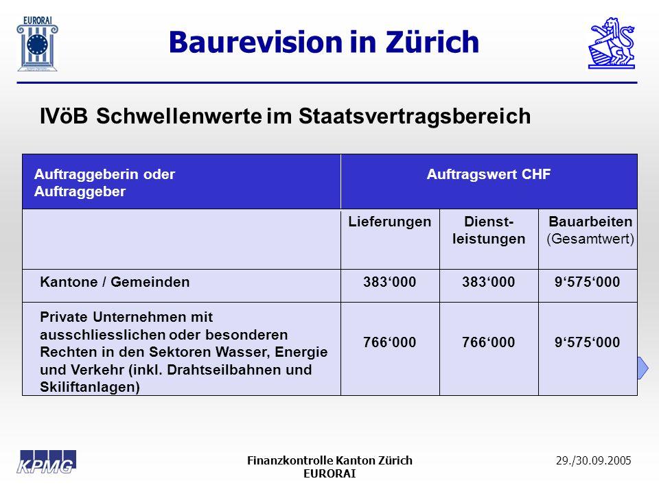 Baurevision in Zürich 12 29./30.09.2005Finanzkontrolle Kanton Zürich EURORAI Auftraggeberin oder Auftraggeber Auftragswert CHF LieferungenDienst- leis