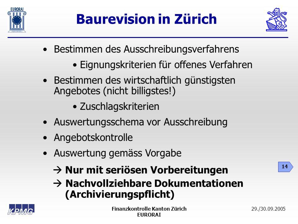 Baurevision in Zürich 14 29./30.09.2005Finanzkontrolle Kanton Zürich EURORAI Bestimmen des Ausschreibungsverfahrens Eignungskriterien für offenes Verf
