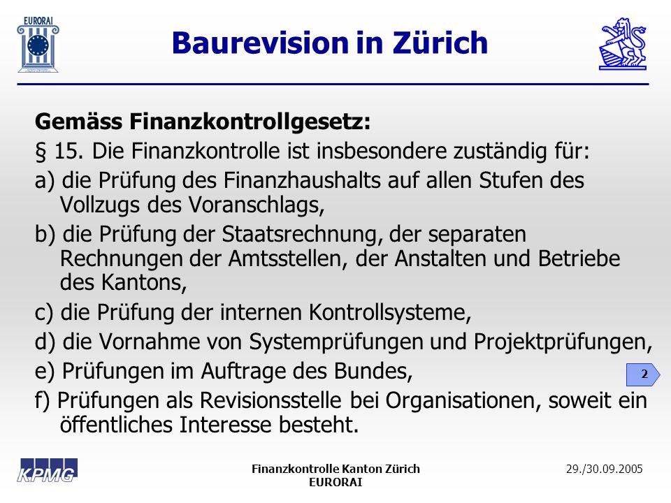 Baurevision in Zürich 2 29./30.09.2005Finanzkontrolle Kanton Zürich EURORAI Gemäss Finanzkontrollgesetz: § 15. Die Finanzkontrolle ist insbesondere zu