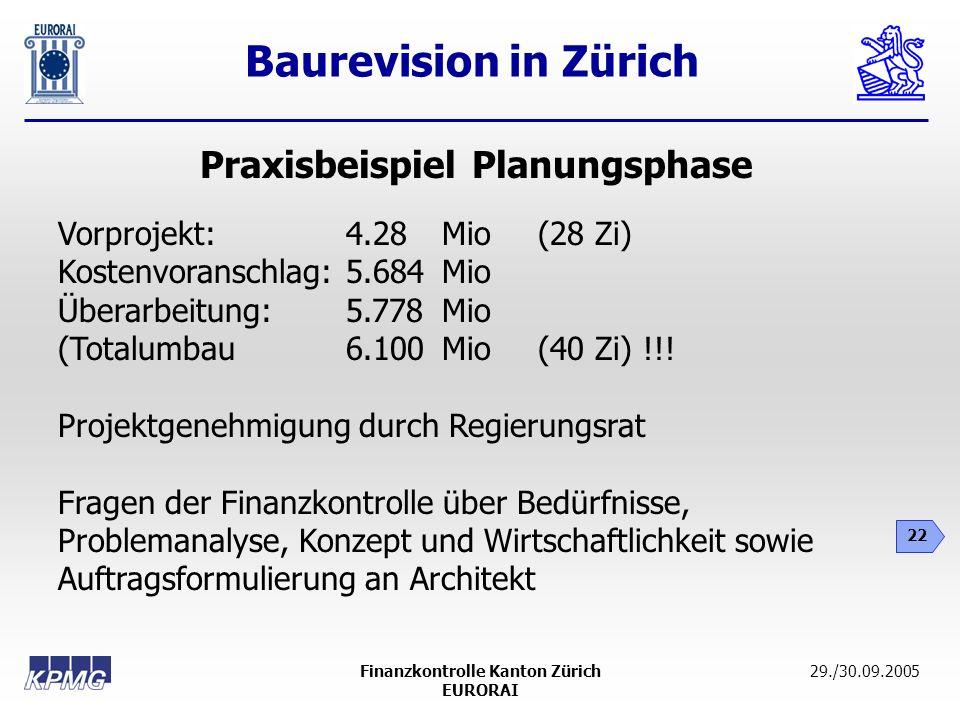 Baurevision in Zürich 22 29./30.09.2005Finanzkontrolle Kanton Zürich EURORAI Praxisbeispiel Planungsphase Vorprojekt:4.28 Mio(28 Zi) Kostenvoranschlag