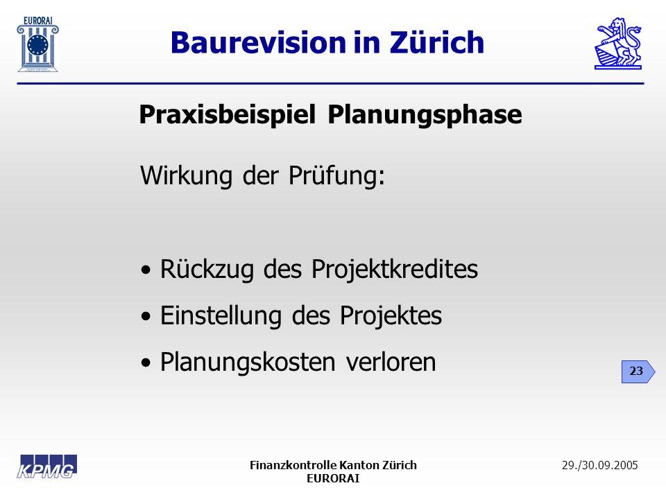 Baurevision in Zürich 23 29./30.09.2005Finanzkontrolle Kanton Zürich EURORAI Praxisbeispiel Planungsphase Wirkung der Prüfung: Rückzug des Projektkred