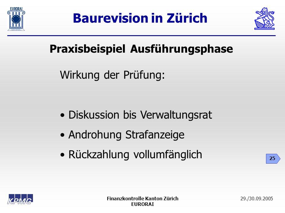 Baurevision in Zürich 25 29./30.09.2005Finanzkontrolle Kanton Zürich EURORAI Praxisbeispiel Ausführungsphase Wirkung der Prüfung: Diskussion bis Verwa