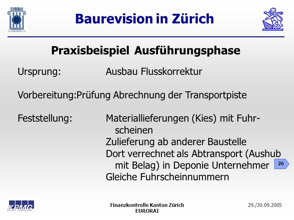 Baurevision in Zürich 26 29./30.09.2005Finanzkontrolle Kanton Zürich EURORAI Praxisbeispiel Ausführungsphase Ursprung: Ausbau Flusskorrektur Vorbereit