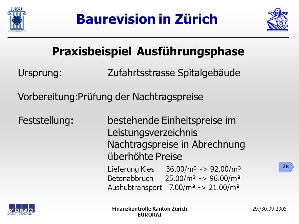 Baurevision in Zürich 28 29./30.09.2005Finanzkontrolle Kanton Zürich EURORAI Praxisbeispiel Ausführungsphase Ursprung: Zufahrtsstrasse Spitalgebäude V