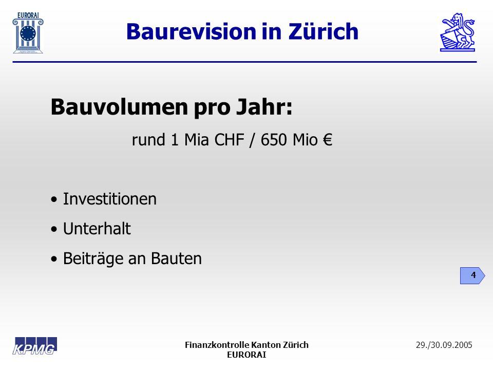 Baurevision in Zürich 4 29./30.09.2005Finanzkontrolle Kanton Zürich EURORAI Bauvolumen pro Jahr: rund 1 Mia CHF / 650 Mio Investitionen Unterhalt Beit