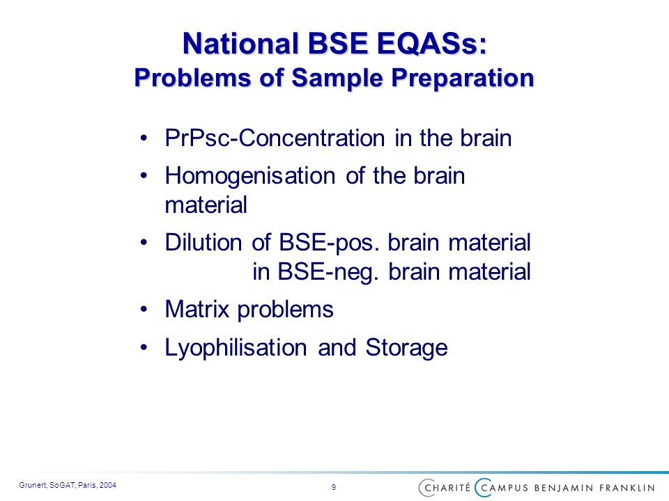 Grunert, SoGAT, Paris, 2004 9 National BSE EQASs: Problems of Sample Preparation PrPsc-Concentration in the brain Homogenisation of the brain material Dilution of BSE-pos.
