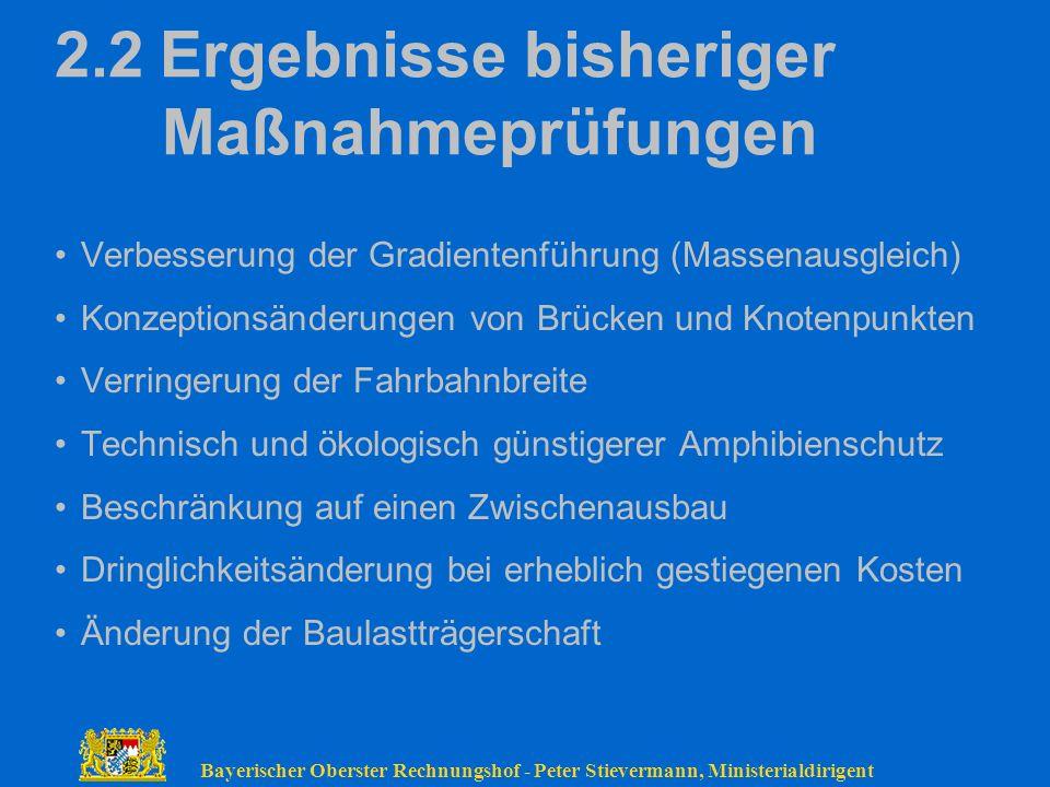 Bayerischer Oberster Rechnungshof - Peter Stievermann, Ministerialdirigent 2.2Ergebnisse bisheriger Maßnahmeprüfungen Verbesserung der Gradientenführu