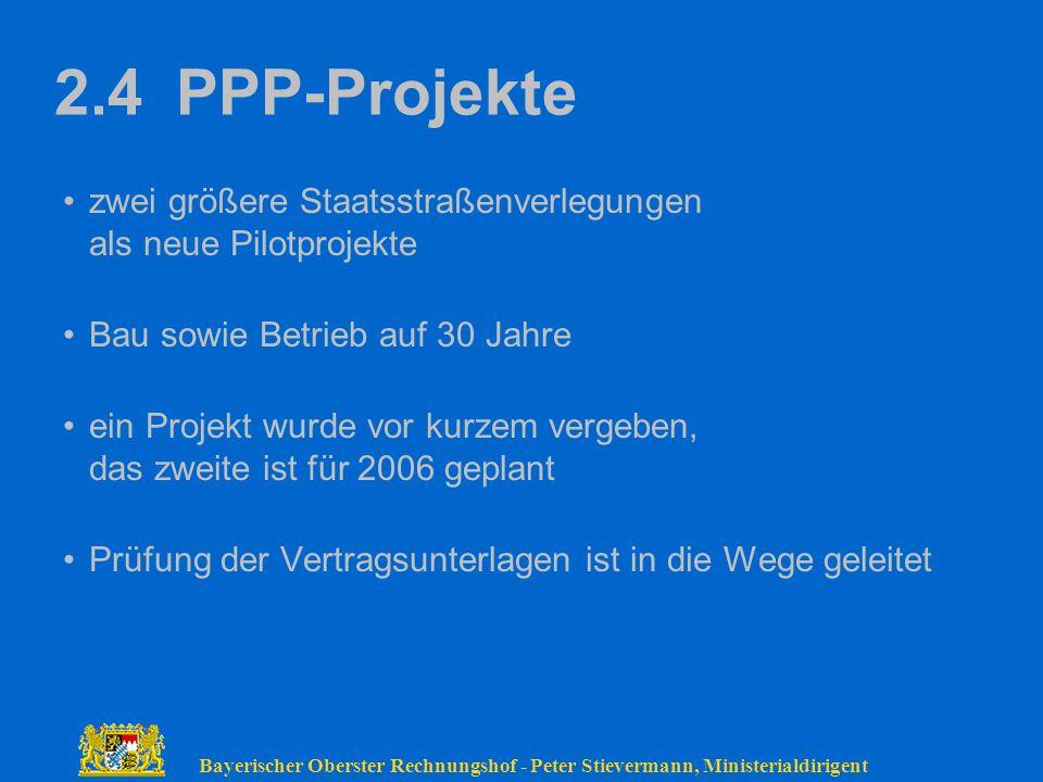 Bayerischer Oberster Rechnungshof - Peter Stievermann, Ministerialdirigent 2.4 PPP-Projekte zwei größere Staatsstraßenverlegungen als neue Pilotprojek