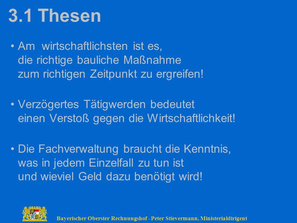 Bayerischer Oberster Rechnungshof - Peter Stievermann, Ministerialdirigent 3.1Thesen Am wirtschaftlichsten ist es, die richtige bauliche Maßnahme zum