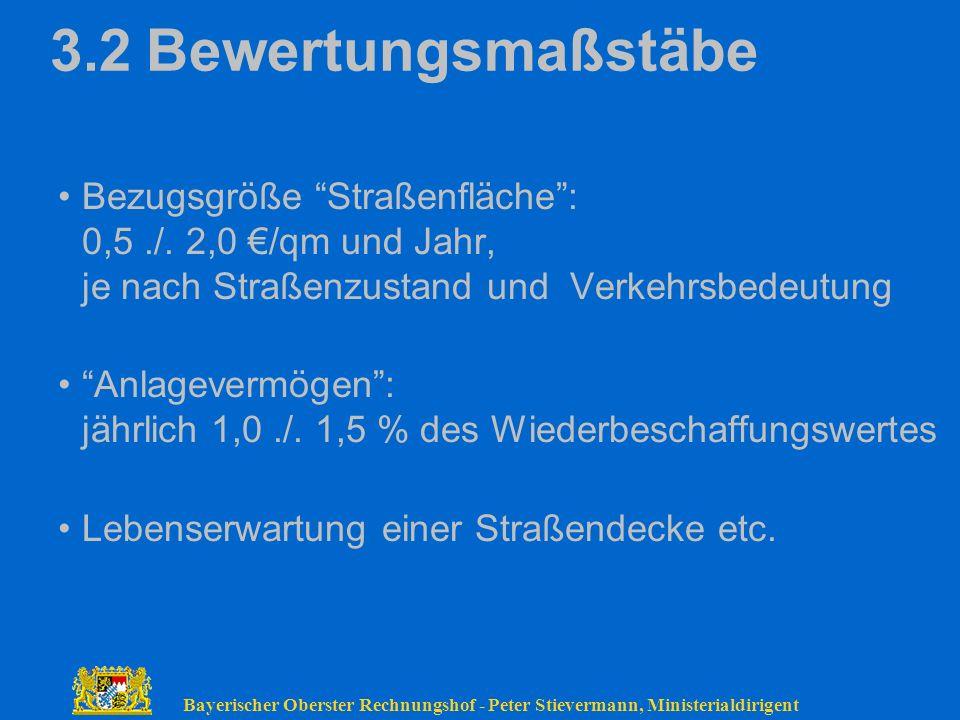 Bayerischer Oberster Rechnungshof - Peter Stievermann, Ministerialdirigent 3.2Bewertungsmaßstäbe Bezugsgröße Straßenfläche: 0,5./. 2,0 /qm und Jahr, j