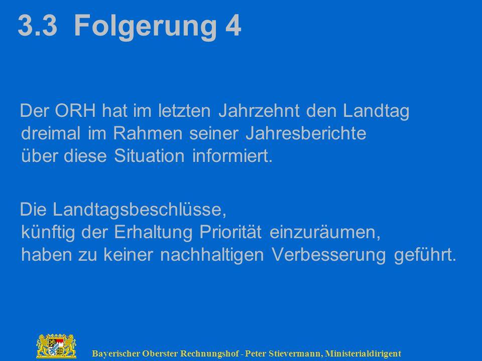 Bayerischer Oberster Rechnungshof - Peter Stievermann, Ministerialdirigent 3.3 Folgerung 4 Der ORH hat im letzten Jahrzehnt den Landtag dreimal im Rah