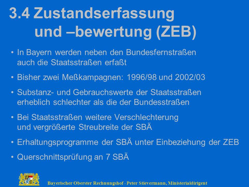 Bayerischer Oberster Rechnungshof - Peter Stievermann, Ministerialdirigent 3.4Zustandserfassung und –bewertung (ZEB) In Bayern werden neben den Bundes