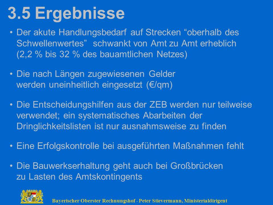 Bayerischer Oberster Rechnungshof - Peter Stievermann, Ministerialdirigent 3.5Ergebnisse Der akute Handlungsbedarf auf Strecken oberhalb des Schwellen