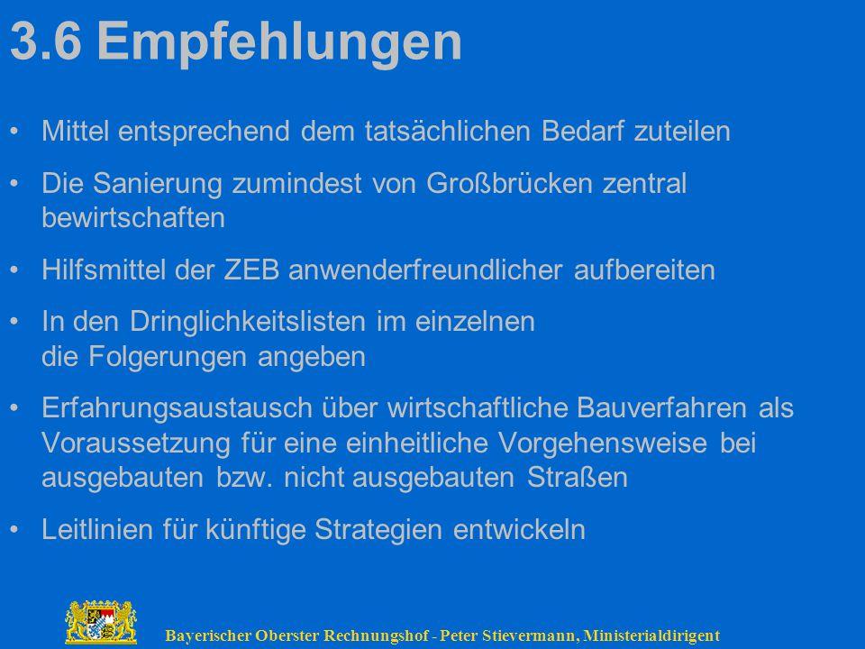 Bayerischer Oberster Rechnungshof - Peter Stievermann, Ministerialdirigent 3.6Empfehlungen Mittel entsprechend dem tatsächlichen Bedarf zuteilen Die S